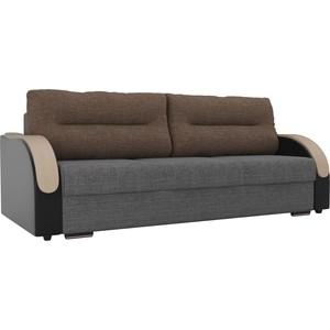 Прямой диван Лига Диванов Дарси рогожка серый подлокотники экокожа черные подушки коричневая