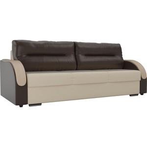 Прямой диван Лига Диванов Дарси экокожа бежевый подлокотники коричневые подушки