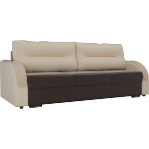 Прямой диван Лига Диванов Дарси экокожа коричневый подлокотники бежевые подушки