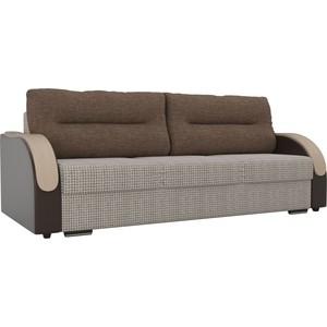 Прямой диван Лига Диванов Дарси корфу 02 подлокотники экокожа коричневые подушки рогожка коричневая