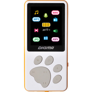 MP3 плеер Digma S4 8Gb white/orange цена и фото