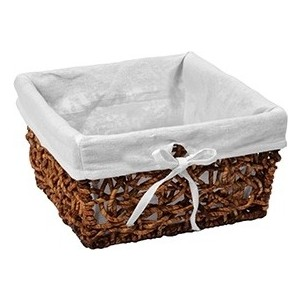 Корзина Wasserkraft Exter плетеная, для ванной комнаты, водоотталкивающее покрытие, съемный чехол, размер 25х22х15 см, WB-160-M
