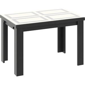 Стол обеденный ТриЯ Норман Тип 1 черный/стекло бежевое с рисунком