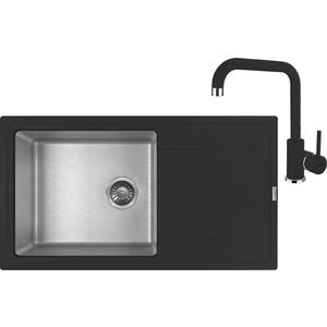 Кухонная мойка и смеситель Florentina Комби 860 черный (21.400.D0860.102 + 33.23H.1110.102)