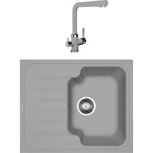 Кухонная мойка и смеситель Florentina Таис 615 грей FSm (20.235.A0615.305 + 33.27L.1120.305) кухонная мойка florentina таис 615 антрацит