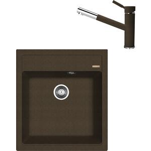 цена на Кухонная мойка и смеситель Florentina Липси 460 коричневый FG (20.280.B0460.105 + 33.25L.2210.105)