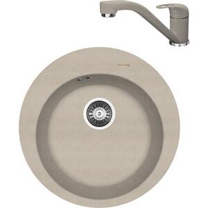 Кухонная мойка и смеситель Florentina Никосия D510 песочный FG (20.135.B0510.107 + 33.26L.1110.107)