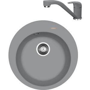 Кухонная мойка и смеситель Florentina Никосия D510 грей FSm (20.135.B0510.305 + 33.26L.1110.305)