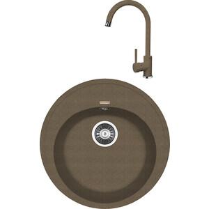 Кухонная мойка и смеситель Florentina Лотос 510 коричневый FG (20.290.B0510.105 + 33.26L.1110.105)