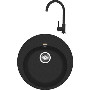 Кухонная мойка и смеситель Florentina Лотос 510 черный FG (20.290.B0510.102 + 33.26L.1110.102)