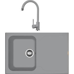 Кухонная мойка и смеситель Florentina Гаттинара 780 грей FSm (20.255.B0780.305 + 33.27L.1120.305)