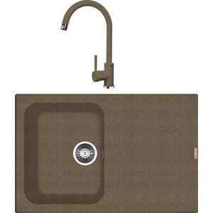 Кухонная мойка и смеситель Florentina Гаттинара 780 коричневый FG (20.255.B0780.105 + 33.27L.1120.105)