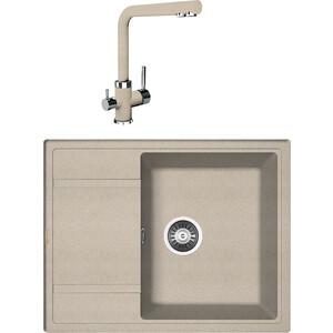 Кухонная мойка и смеситель Florentina Липси 650 песочный FG (20.125.C0650.107 + 33.27L.1120.107) все цены