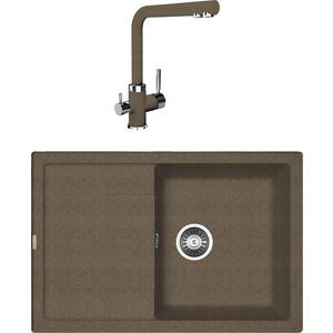 Кухонная мойка и смеситель Florentina Липси 760 коричневый FG (20.160.D0760.105 + 33.21H.1110.105)