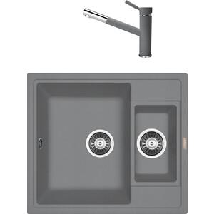 Кухонная мойка и смеситель Florentina Липси 580 К грей FSm (20.210.D0580.305 + 33.27L.1120.305)