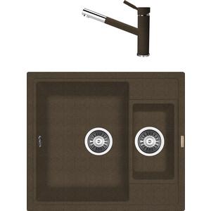 Кухонная мойка и смеситель Florentina Липси 580 К коричневый FG (20.210.D0580.105 + 33.27L.1120.105)