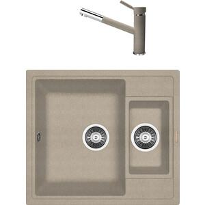 Кухонная мойка и смеситель Florentina Липси 580 К песочный FG (20.210.D0580.107 + 33.27L.1120.107)