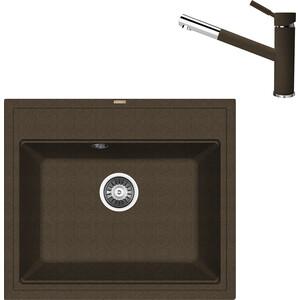 цена на Кухонная мойка и смеситель Florentina Липси 600 коричневый FG (20.120.D0600.105 + 33.27L.1120.105)