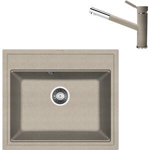 цена на Кухонная мойка и смеситель Florentina Липси 600 песочный FG (20.120.D0600.107 + 33.27L.1120.107)