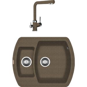Кухонная мойка и смеситель Florentina Нире 630 K коричневый FG (20.220.D0630.105 + 33.27L.1120.105)