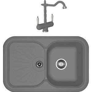 Кухонная мойка и смеситель Florentina Крит 780 грей FSm (20.170.D0780.305 + 30.29H.1120.305) мойка florentina крит 860 грей