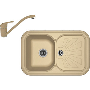 Кухонная мойка и смеситель Florentina Крит 780 капучино FSm (20.170.D0780.306 + 33.51L.1110.306)