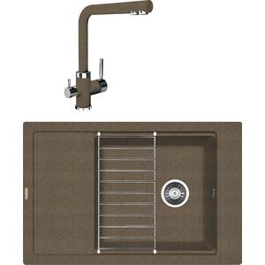 Кухонная мойка и смеситель Florentina Липси 780 Р коричневый FG (20.275.D0780.105 + 33.27L.1120.105)