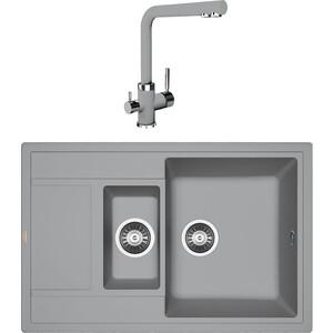 Кухонная мойка и смеситель Florentina Липси 780 K грей FSm (20.250.D0780.305 + 33.27L.1120.305)