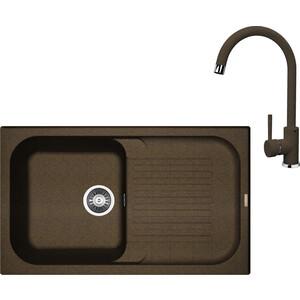 Кухонная мойка и смеситель Florentina Арона 860 коричневый FG (20.225.D0860.105 + 33.27L.1120.105)