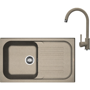 Кухонная мойка и смеситель Florentina Арона 860 песочный FG (20.225.D0860.107 + 33.27L.1120.107)