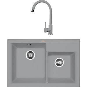 Кухонная мойка и смеситель Florentina Касси 780 грей FSm (20.230.E0780.305 + 33.21H.1110.305)