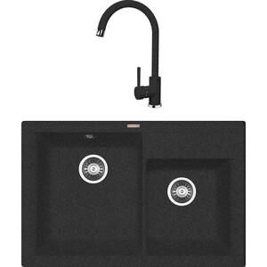 Кухонная мойка и смеситель Florentina Касси 780 черный FG (20.230.E0780.102 + 33.21H.1110.102) врезная кухонная мойка 78 см florentina касси 780 fg 20 230 е0780 107 песочный