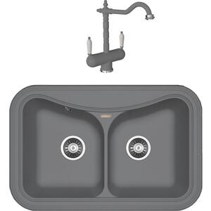 Кухонная мойка и смеситель Florentina Крит 780 А грей FSm (20.175.E0780.305 + 30.29H.1120.305) мойка florentina крит 860 грей