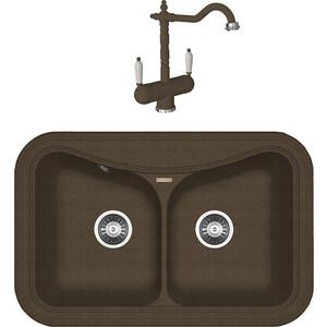 Кухонная мойка и смеситель Florentina Крит 780 А коричневый FG (20.175.E0780.105 + 30.29H.1120.105)