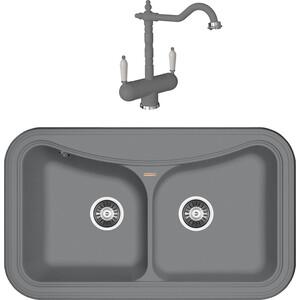 Кухонная мойка и смеситель Florentina Крит 860 грей FSm (20.115.E0860.305 + 30.29H.1120.305) мойка florentina крит 860 грей