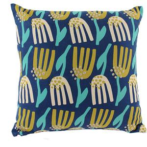 Чехол для подушки темно-синего цвета с принтом Lazy flower 45х45 Tkano Cuts&Pieces (TK18-CC0003)