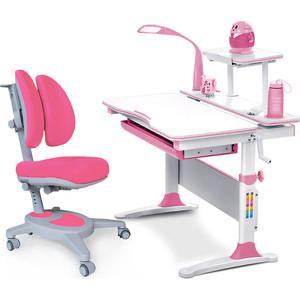 цена на Комплект (стол+полка+кресло+лампа) Mealux Evo-kids Evo-30 PN (Evo-30 PN + Y-115 KP) /белая столешница дерево/пластик розовый