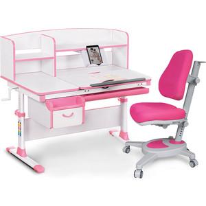 цена на Комплект (стол+полка+кресло+лампа) Mealux Evo-kids Evo-50 PN (Evo-50 PN + Y-110 KP) белая столешница/пластик розовый