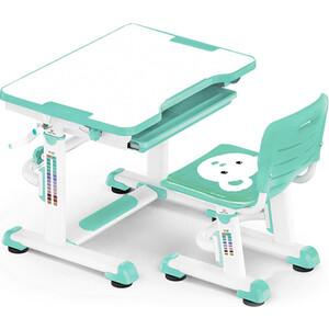 Комплект мебели Mealux BD-08 (столик+стульчик) Teddy green столешница белая / пластик зеленый