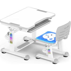 Комплект мебели Mealux BD-08 (столик+стульчик) Teddy gray столешница белая / пластик серый