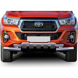 Защита переднего бампера d76+d57 с профильной защитой картера Rival для Toyota Hilux VIII (Exclusive) (2018-н.в.), R.5722.002