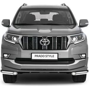 Защита переднего бампера d57 уголки Rival для Toyota Land Cruiser Prado 150 рестайлинг (Style) (2019-н.в.), 2 части, R.5723.004