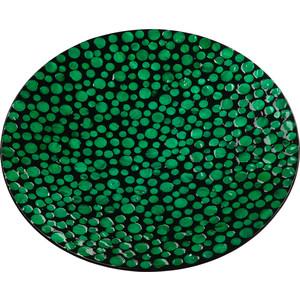Блюдо декоративное ВеЩицы перламутровое Малахитовые кольца, зеленый, черный Д450 Ш450 В60