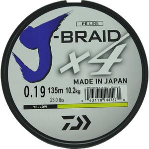 Леска рыболовная Daiwa плетеная J-Braid X4 135м 0,19мм желтая