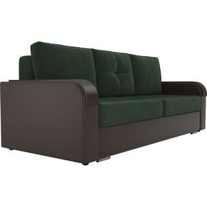 Прямой диван Лига Диванов Мейсон велюр зеленый экокожа коричневый