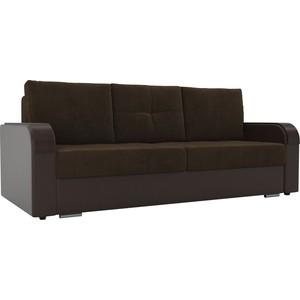 Прямой диван Лига Диванов Мейсон велюр коричневый экокожа коричневый цена и фото