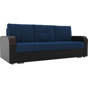 Прямой диван Лига Диванов Мейсон велюр синий экокожа черный