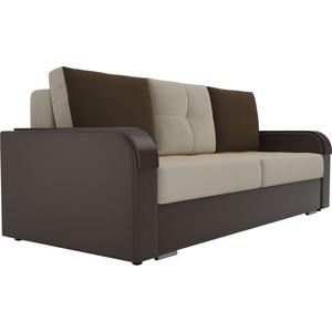 Прямой диван Лига Диванов Мейсон микровельвет бежевый экокожа коричневый диван лига диванов милтон экокожа коричневый прямой