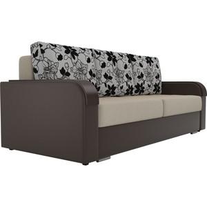 Прямой диван Лига Диванов Мейсон микровельвет бежевый экокожа коричневый подушки рогожка на флоке