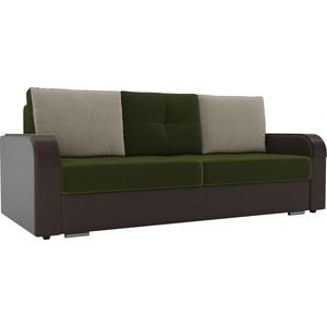Прямой диван Лига Диванов Мейсон микровельвет зеленый экокожа коричневый диван лига диванов милтон экокожа коричневый прямой